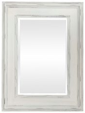 Block & Chisel rectangular wooden mirror with distressed antique white finish
