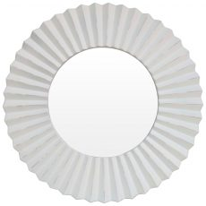 Block & Chisel round mirror with white PU frame