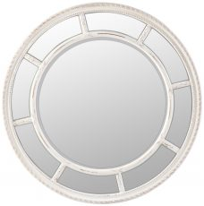 Block & Chisel round mirror with stone white bevel frame