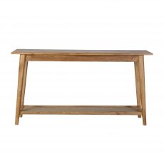 solid oak console with bottom shelf