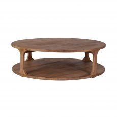 solid round elm coffee table with solid bottom base