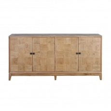 Block and chisel oak sideboard with four doors and parquet front