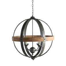 Block & Chisel round metal and wood chandelier
