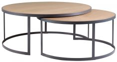 Block & Chisel round weathered oak nested coffee table with matt black base