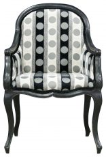 Block & Chisel grey and black stripe and polka dot armchair