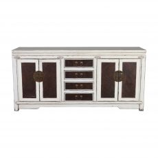 White Chinese sideboard with dark brown wood detail on doors and drawers.