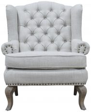 Block & Chisel linen upholstered wingback chair with oak wood legs