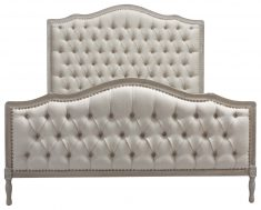 Block & Chisel grey button tufted queen size bed