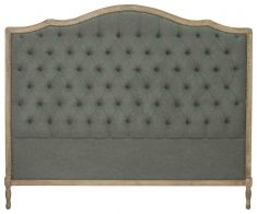Block & Chisel grey button tufted king size headboard with oak wood frame
