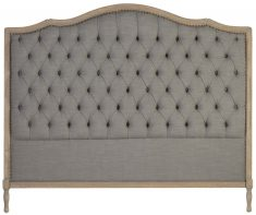 Block & Chisel grey upholstered button tufted headboard with wooden frame
