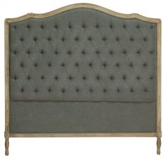 Block & Chisel grey button tufted queen size headboard with oak wood frame