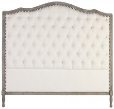 Block & Chisel ivory velvet upholstered button tufted headboard with wooden frame