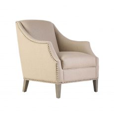 Vera Armchair in cream linen and studded trim detail