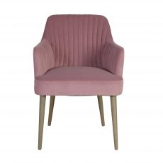 Donatella Carver Dining Armchair Desk Chair in pink mink velvet upholstery