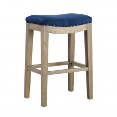 counter stool with oak legs and navy upholstery