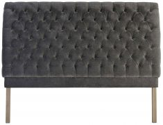 Block & Chisel button tufted silver grey linen upholstered king size headboard