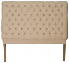 Block & Chisel button tufted cream, linen upholstered queen size headboard