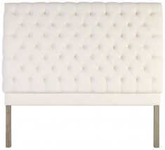 Block & Chisel button tufted ivory velvet upholstered queen size headboard