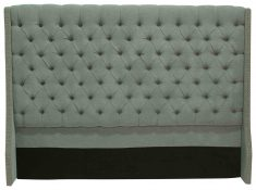 Block & Chisel grey upholstered button tufted king size headboard