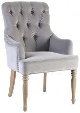 Block & Chisel grey velvet upholstered dining chair with button tufted backrest