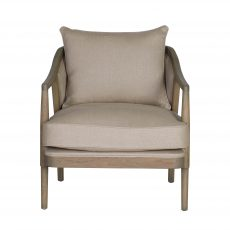 oak frame chair upholstered in linen with loose back cushion and seat
