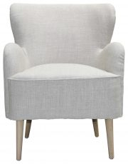 Block & Chisel beige upholstered occasional chair with pointed oak wood legs