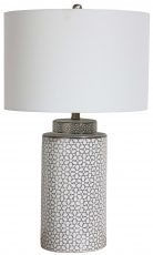 Block & Chisel ceramic and metal table lamp with white shade