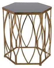 Block & Chisel iron and glass side table