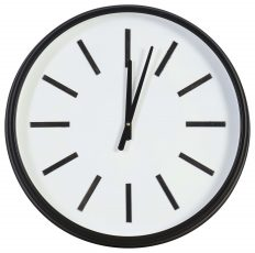 Block & Chisel round clock with black iron frame