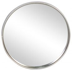 Block & Chisel round mirror with iron frame in antique silver finish