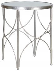 Block & Chisel round iron side table with mirrored top