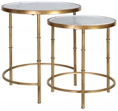 Block & Chisel iron nesting side tables with faux marble tops