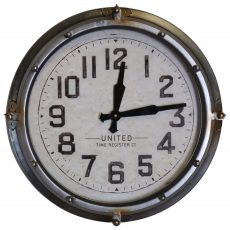 Block & Chisel round clock with iron frame
