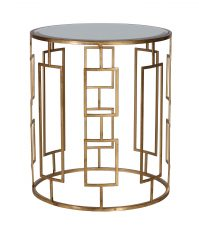 Justine Side Table - Large - gold metal with mirror top circular side table