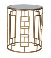 Justine Side Table - Medium - gold metal with mirror top circular side table