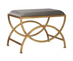 Ursula Stool - Grey stool with metal geometric gold legs