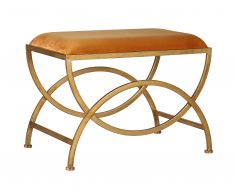 Ursula Stool - Yellow Gold stool with metal geometric gold legs