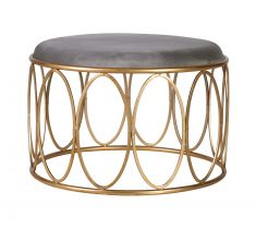 Nadine Stool with oval details in metal base with grey velvet top