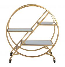Marilyn Drinks Trolley - hula hoop styled drinks trolley with gold metal frame and mirrored top