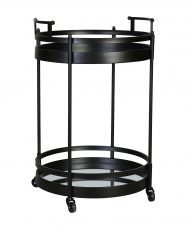 Shirley Trolley - matt black drinks trolley on castor wheels with two shelves