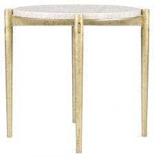 Block & Chisel marble top side table with gold coated metal base
