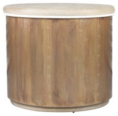 Block & Chisel round copper base side table with mango wood top