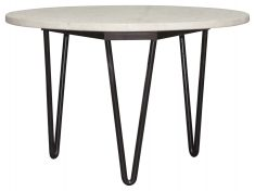 Block & Chisel round marble top coffee table with black metal legs