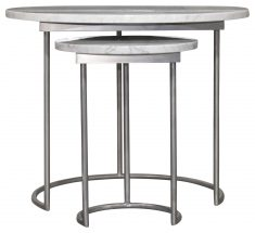 Block & Chisel round marble top nesting side tables with metal base
