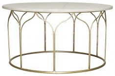 Block & Chisel round gold metal base coffee table with marble top