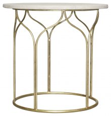 Block & Chisel round gold metal base side table with marble top