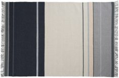 Block & Chisel multi-coloured stripe wool rug with fringe detail