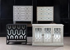 Elizabeth Drawer Chest with 3 drawers in off grey colour and geometric pattern
