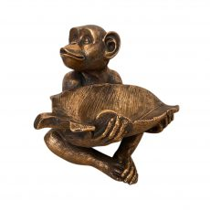 bronze monkey with leaf bowl