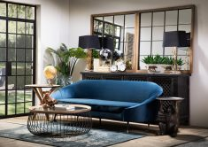 Block & Chisel Blue Velvet Sofa